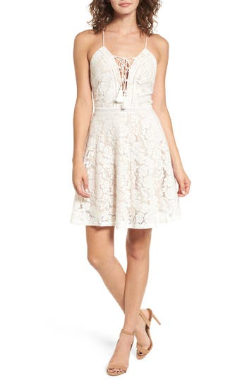Women's Soprano Fit & Flare Lace-Up Lace Dress, Size X-Small - White