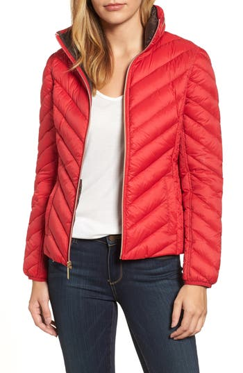 Michael Michael Kors Chevron Quilted Packable Down Puffer Jacket With Stowaway Hood, Red