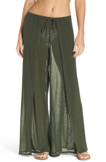 Robin Piccone Francesca Wide Leg Cover-Up Pants, Green