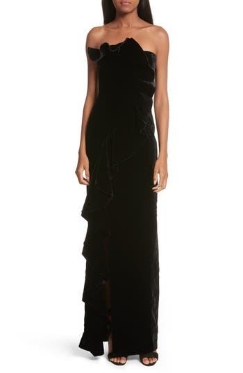 Cinq A Sept Annoziata Strapless Velvet Gown, Black