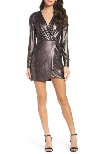 Greylin Lily Metallic Wrap Minidress, Metallic