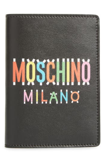 Moschino Paper Doll Multi Logo Leather Passport Case -