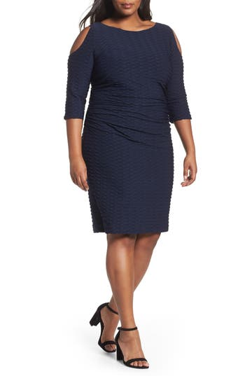 Plus Size Adrianna Papell Cold Shoulder Textured Sheath Dress, Blue