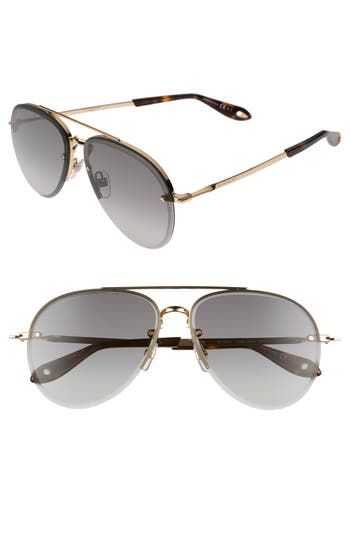 Givenchy 62Mm Oversize Aviator Sunglasses - Gold