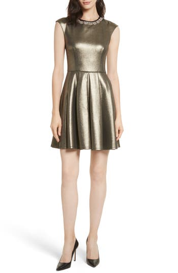 Ted Baker London Ayma Embellished Metallic Fit & Flare Dress, Brown