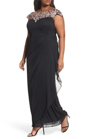 Plus Size Xscape Embroidered Side Ruched Dress, Black