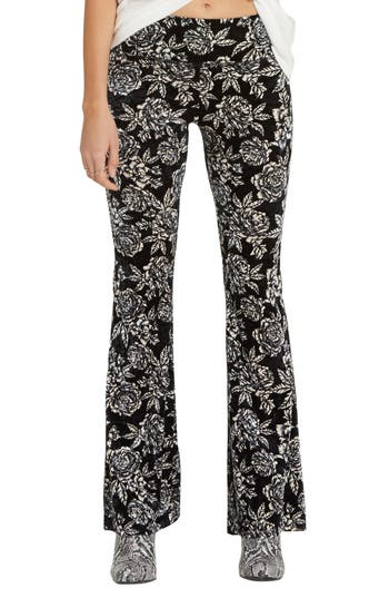 Billabong Turn Me Round Floral Print Velvet Flare Pants, Black