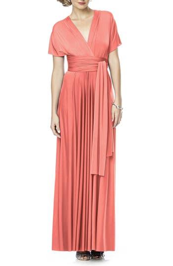 Plus Size Dessy Collection Convertible Wrap Tie Surplice Jersey Gown, Orange