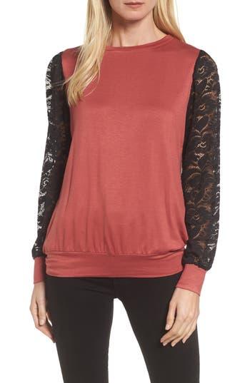 Bobeau Lace Sleeve Sweatshirt, Red