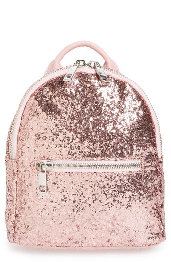 Mali + Lili Glitter Vegan Leather Backpack - Pink