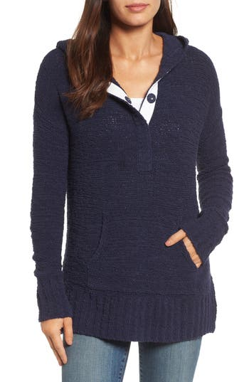 Caslon® Beachy Hooded Knit Sweater
