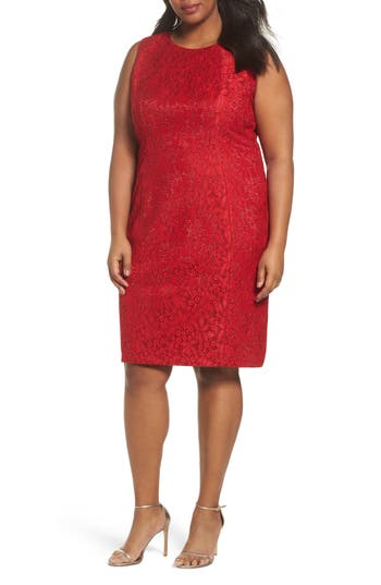 Plus Size Tahari Shimmer Lace Sheath Dress, Red