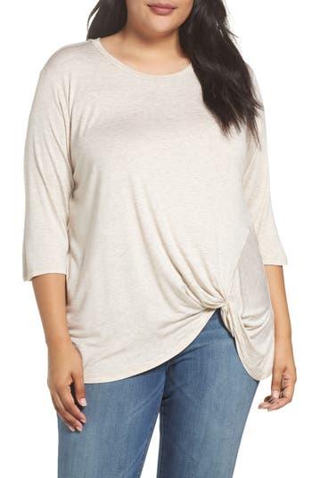 Plus Size Women's Bobeau Side Twist Top, Size 1X - Ivory