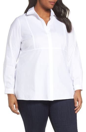 Plus Size Foxcroft Pinpoint Oxford Cloth Shirt, White