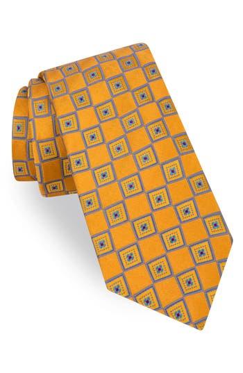 Men's Ted Baker London Frame Square Print Silk Tie, Size Regular - Yellow