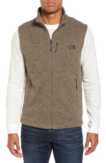 Men's The North Face Gordon Lyons Zip Fleece Vest, Size Small - Brown