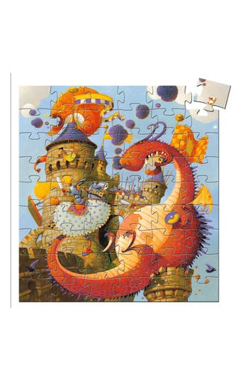 Boy's Djeco Silhouette Puzzles Vaillant And The Dragon 54-Piece Puzzle