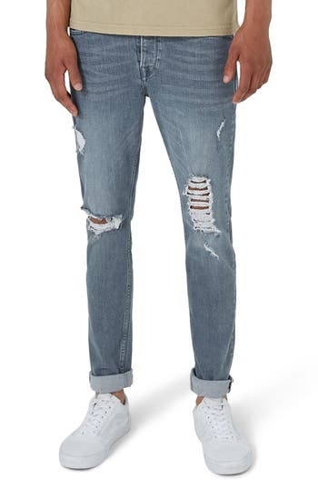 Topman Extreme Rip Stretch Jeans, Grey