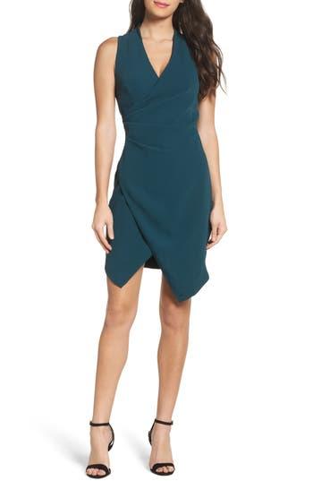 Adelyn Rae Teri Faux Wrap Sheath Dress, Blue