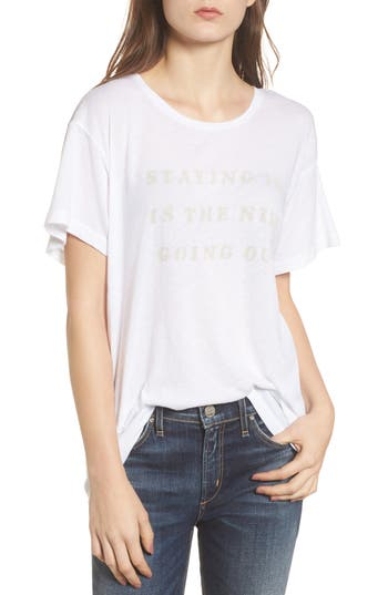 Women's Wildfox Staying In Is The New Going Out Tee, Size X-Small - White