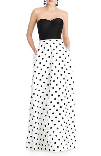 Alfred Sung Strapless Dot Block Sateen Gown, White
