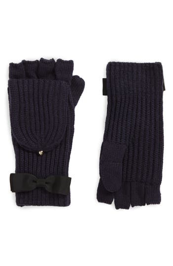 Kate Spade New York Grosgrain Bow Convertible Knit Mittens, Size One Size - Blue