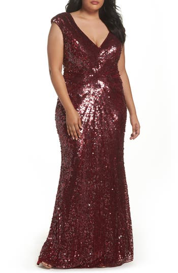 Plus Size MAC Duggal Sequin Plunging V-Neck Gown, Red
