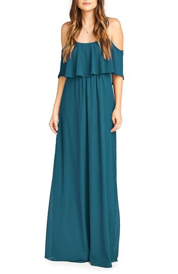 Show Me Your Mumu Caitlin Cold Shoulder Chiffon Gown, Green
