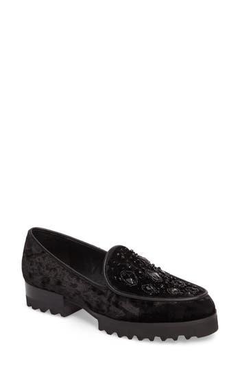 Donald J Pliner Elen Beaded Velvet Loafer, Black