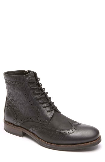 Rockport Wyat Wingtip Boot, Black