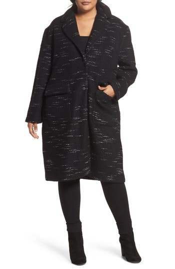 Plus Size Bernardo Wool Blend Sweater Coat, Black
