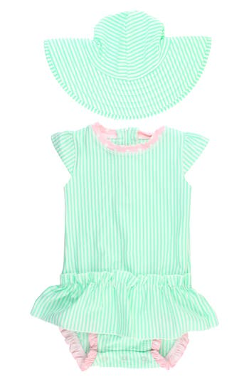 Infant Girl's Ruffle Butts One-Piece Swimsuit & Hat Set, Size 0-3M - Green