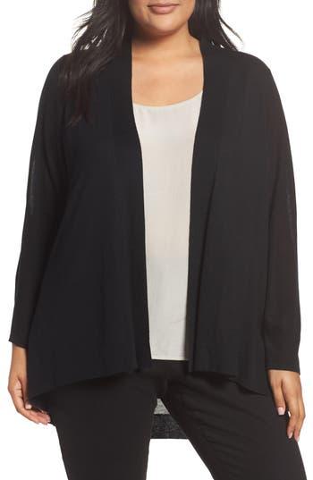 Plus Size Eileen Fisher Shaped Tencel & Merino Wool Cardigan, Black