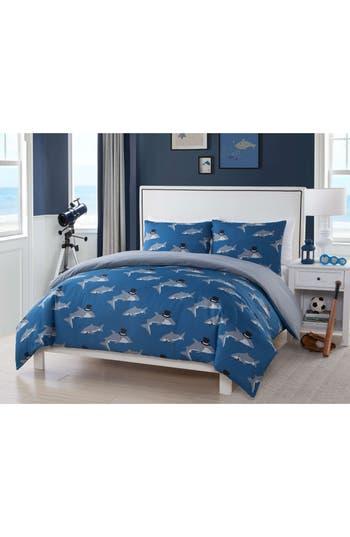 Lala + Bash Chomp Shark Duvet Cover & Sham Set, Size Twin - Blue