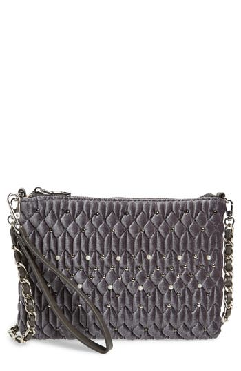 Chelsea28 Lily Quilted Velvet Crossbody Clutch - Grey