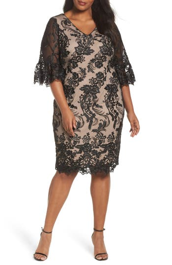 Plus Size Adrianna Papell Flounce Sleeve Embroidered Lace Dress, Black