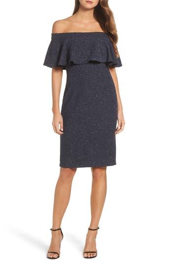 Eliza J Glitter Knit Ruffle Off The Shoulder Dress, Grey