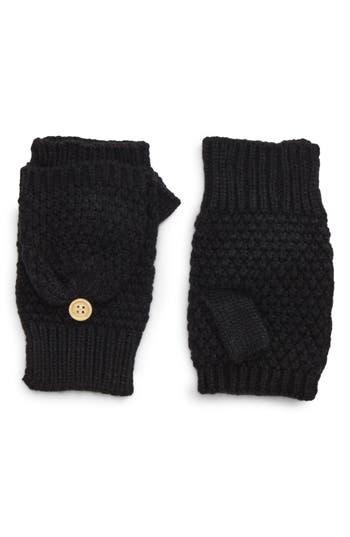 Nyc Underground Flip Top Textured Mittens, Size One Size - Black