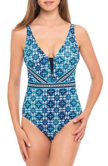 Profile By Gottex Print One-Piece Swimsuit, Blue