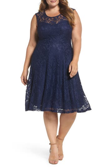 Plus Size Women's Soprano Lace Skater Dress, Size 1X - Blue