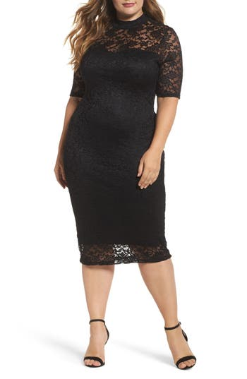 Plus Size Women's Soprano Lace Body-Con Midi Dress, Size 1X - Black