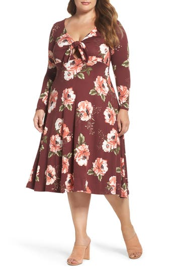 Plus Size Women's Soprano Plunging Floral Midi Dress, Size 1X - Burgundy