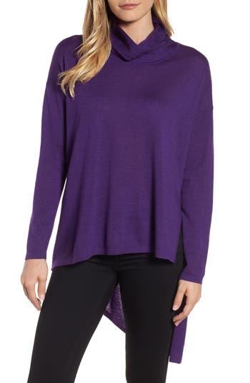 Eileen Fisher Asymmetrical Merino Wool Sweater, Purple