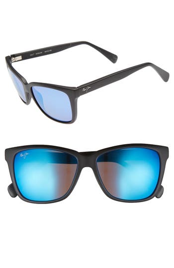 Maui Jim 5m Jacaranda Polarized Sunglasses - Matte Black/ Blue Hawaii