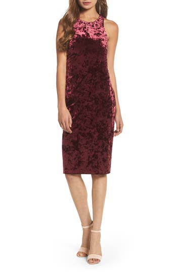 Morgan & Co. Cutout Back Velvet Sheath Dress, /2 - Burgundy