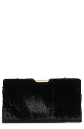 Milly Croc Embossed Velvet Frame Clutch - Black