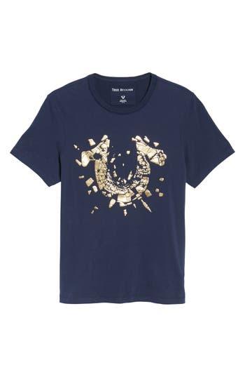 True Religion Brand Jeans Metallic Logo T-Shirt, Blue