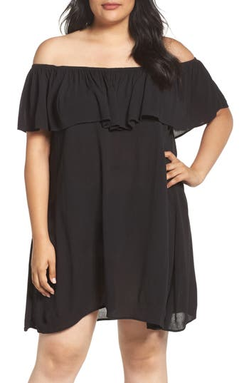 Plus Size Becca Etc. Southern Belle Off The Shoulder Cover-Up Dress, Black