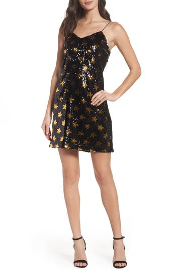 Sam Edelman Star Sequin Slipdress, Black