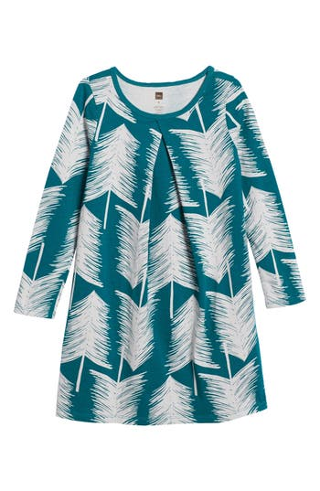 Girl's Tea Collection Winterland Pleat Dress, Size 4 - Green